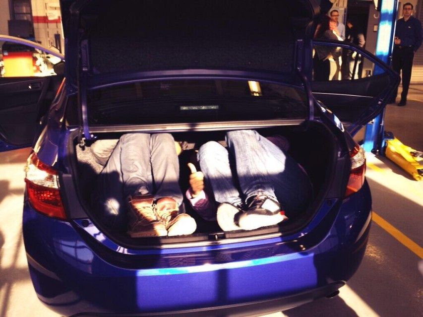 How many bloggers can you fit into a Toyota Corolla trunk?
