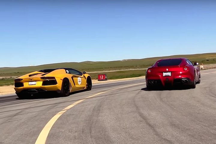 watch a ferrari f12 and lamborghini aventador roadster hit the drag strip r. Cars Review. Best American Auto & Cars Review